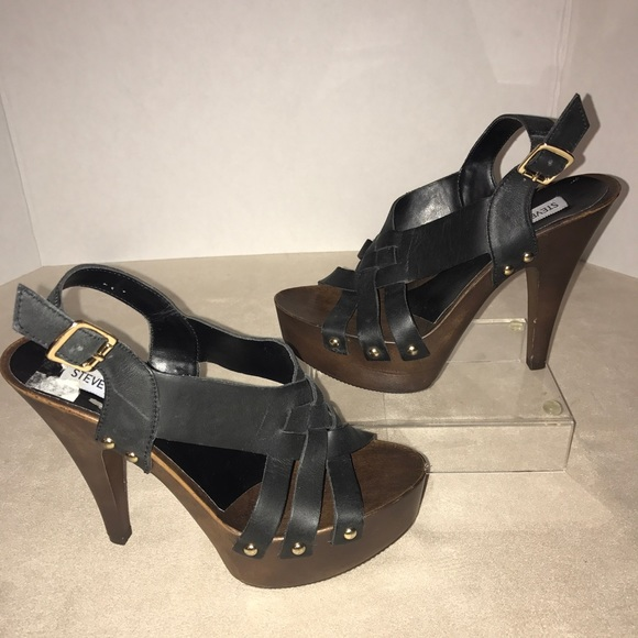 5c23527d266 Steve Madden Platform Sandals Black Brown Shoes 6